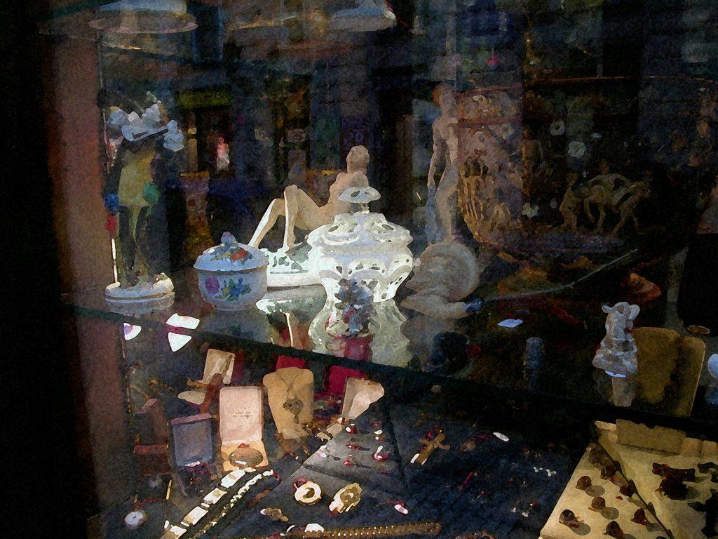 Window in shop at Prague Jewish Quarrter
